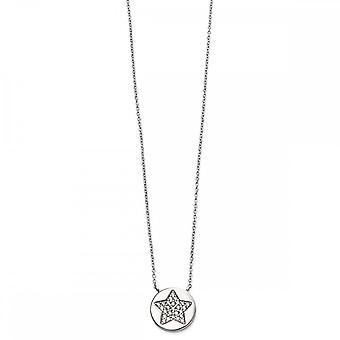 Beginnings Sterling Silver Pave Star Necklaces N4213C