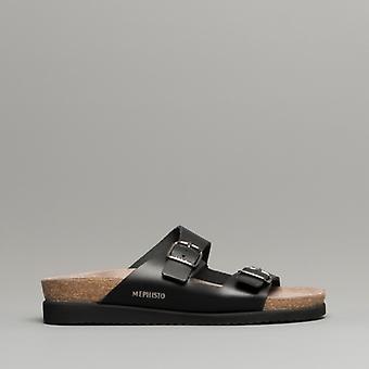 Mephisto Harmony Ladies Leather Mule Sandals Black