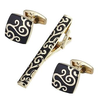 Gold & black matching tie pin & cufflink set