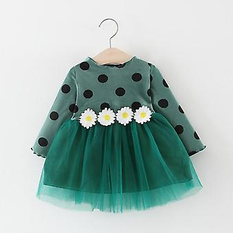 Baby Autumn Long Sleeve Dress, Baby Princess Polka Dot Daisy Fashion Dresses