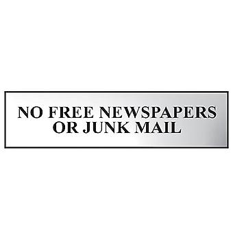 Scan No Free Newspapers Or Junk Mail - Polished Chrome Effect 200x50mm SCA6023C