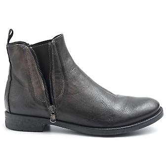Pawelk Ankle Boots;s Leather Browns With Rubber Bands and Zippers
