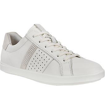 Ecco Womens Fritid Läder Casual Utbildare Sneakers Skor - Vit