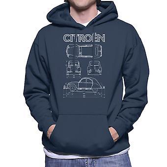 Citroen 2CV Valkoinen Kaavio Näkymät Miesten huppari