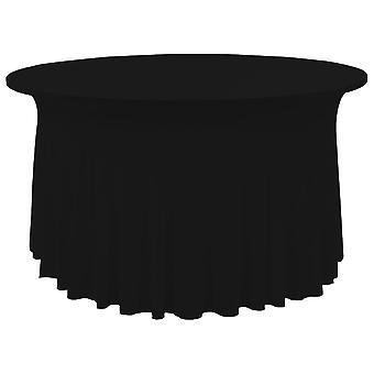 2 kpl venyttele pöytäliinoja, joiden reuna musta 120 x 74 cm