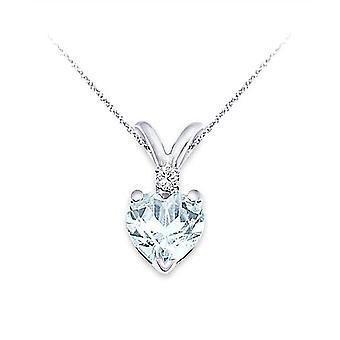 6MM Aquamarine & 0,02 Karat Diamant Hjärta Hänge