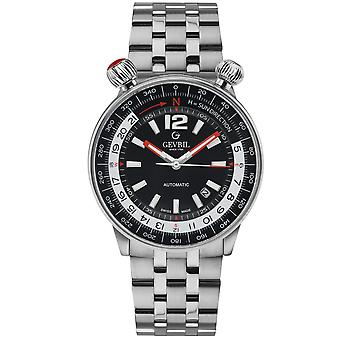 Gevril Men's Wallabout Black Dial Stainless Steel Watch