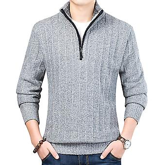 Yunyun Men's Half High Neck Zipper Casual Plus Fleece Sweater