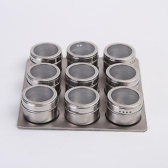 Spice Jars 9Pcs/Set Stainless Steel Spice Tins Spice Seasoning Containers Pepper Seasoning Sprays Tools With Bottom Plate