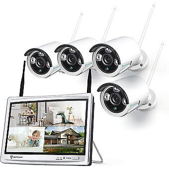 Système de caméra de sécurité sans fil HeimVision HM243 1080P avec écran LCD de 12 pouces, 8CH NVR 4Pcs extérieur / intérieur caméras de surveillance WiFi avec vision nocturne, imperméable à l'eau, détection de mouvement, pas de disque dur