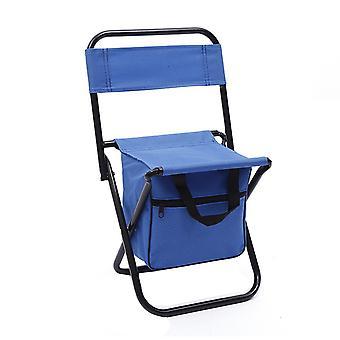 Blå Oxford Cloth PVC vandtæt coating SteelPipe multifunktionelle klapstol