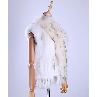 Women's Lady Genuine Knitted Fur Vests, Tassels Raccoon Trimming Collar,