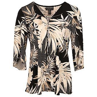 Frank Lyman Black & Beige Tropical Leaf Print Half Zip Long Sleeve Top
