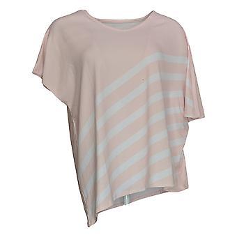 Elizabeth & Clarke Women's Top XXS Striped Tunic Asymmetric Hem Pink A353168