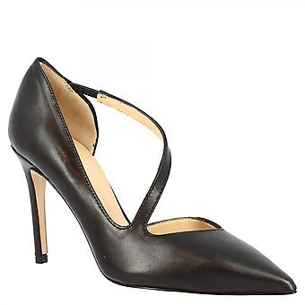 Leonardo Shoes Women's fait main élégant talons hauts pointe escarpins chaussures en cuir noir napa