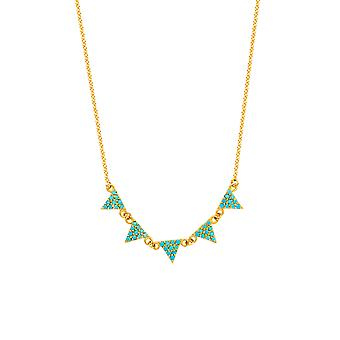 """14K Yellow Gold Hanging Triangle Pendants Necklace, 16"""" To 18"""" Adjustable"""