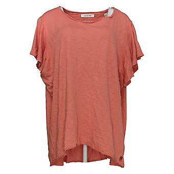 Peace Love World Women's Top (XXL) Flutter Sleeve Knit Orange A347441