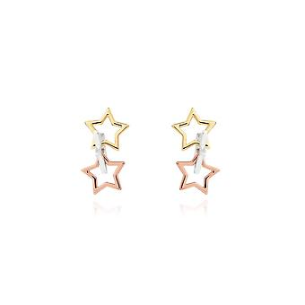 Joma Jewellery Florence Star Earrings Silver Rose Gold And Gold Earrings 4444