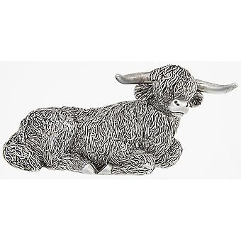 Silver Highland Coo Lying Large Ornament