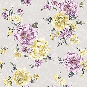 Lavinia Grey/Plum Wallpaper