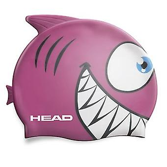 Head Meteor Character Silicone Swimming Cap - Pink Shark