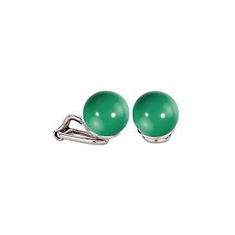 Traveller Clip Earrings 10mm Jade from Swarovski Rhodium plated - 112334