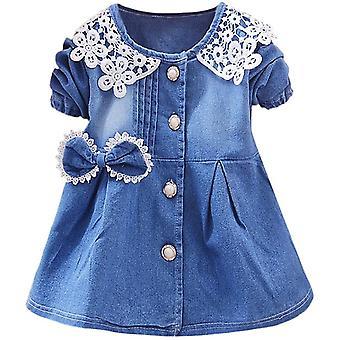 Peuter meisjes Bowknot korte mouw prinses denim lente jurk