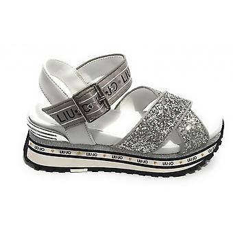 Prata couro Liu-jo Maxi Sapatos de Sandália Maravilha/ Glitter Woman Ba1081