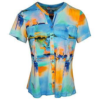 Tinta Style Multi-coloured Short Sleeve Grandad Collar Boat Printed Button Shirt