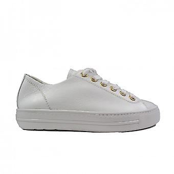 Paul Green 5704-00 White Leather Womens Lace Up Casual Trainers