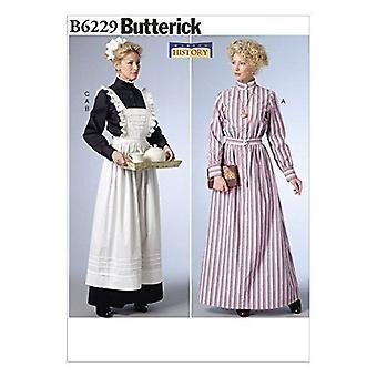 أنماط الخياطة Butterick 6229 يفتقد فستان طويل مئزر كشمش حجم الرأس 6-14