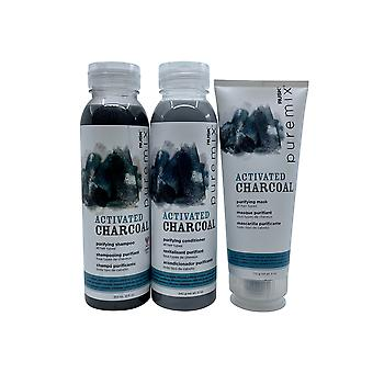 Rusk Pure Mix Charcoal Purifying Shampoo & Conditioner 12 OZ Each & Mask 6 OZ