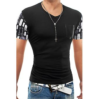 Men's summer t-shirt Stretch Slim fit chest pocket Netztoff Men Style Secretz