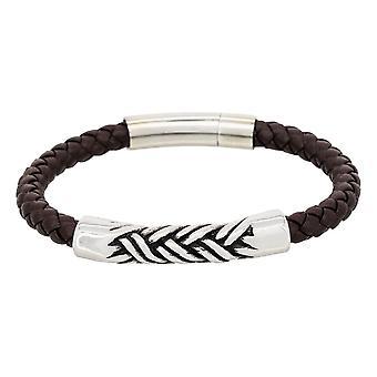 Mäns stål och brunt läder armband - VERYLED ACIER;