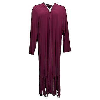 Attitudes by Renee Women's Sweater Petite Jersey Duster Fringe Red A366053