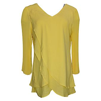 Laurie Felt Women's Top Pleated Sleeve Blouse Yellow A379346