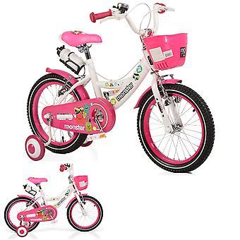 Byox barn cykel 16 tum 1681 rosa, stödhjul, främre korg, mugghållare