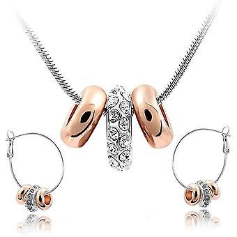 Wei Crystals from Swarovski Schmuck-Set Halskette Anhnger 45 cm Creolen Ohrringe 18 ct Wei and Rose