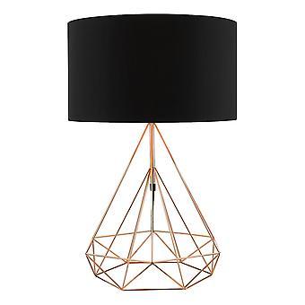DAR SWORD Lampada da tavolo Rame con tonalità tamburo rotondo in cotone nero