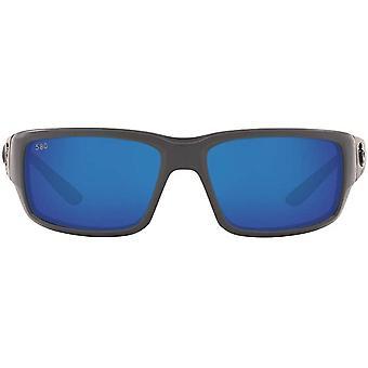 Costa Del Mar Mens Fantail 580G Polarized Rectangular Sunglasses - Matte Grey/Blue Mirrored - 59 mm