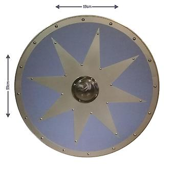 Wooden/metal Medieval Star Leather Viking Shield SWE60