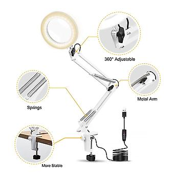 Table Clamp USB 5X Folding Magnifier Desk Lamp 3 Colors LED Illuminated Magnifying Glass Magnifiers