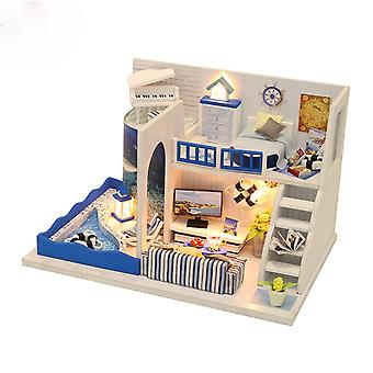 Diy dollhouse miniature with furniture diy wooden dollhouse sound of the sea