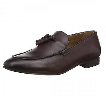 Hudson Bolton Brown Leather Slip On Tassle Loafer Shoes
