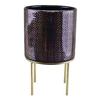 firkantet geometrisk design midnattsblå og gull keramisk planter på stativ