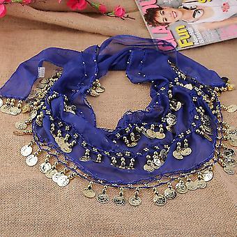 3 Rows 128 Gold Coins Belly Dance Costume Hip Scarf Skirt Belt Wrap Waist