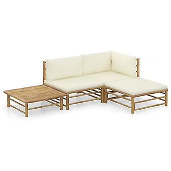 vidaXL 4-tlg. Garten-Lounge-Set mit Cremeweißen Kissen Bambus