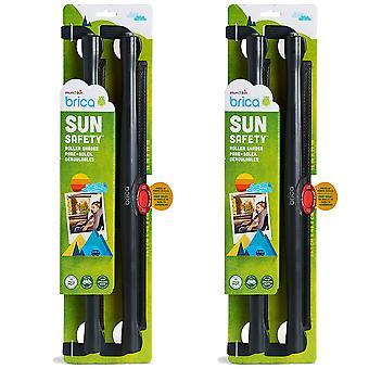 2 x 2 Roller Pack Fenêtre de voiture Ombre solaire UVA UVB Véhicule Winscreen Bouchon solaire Alerte de chaleur