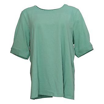 Denim &co. kvinners topp Reg cotton grunnleggende t-skjorte grønn