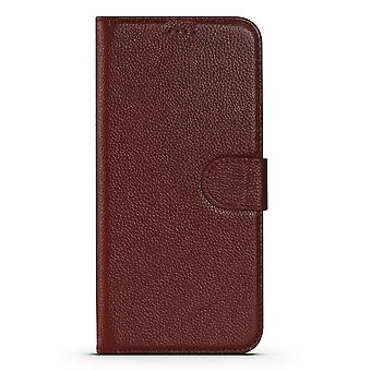 Para iPhone 13 Pro Case Fashion Cowhide Genuine Leather Wallet Cover Wine Red